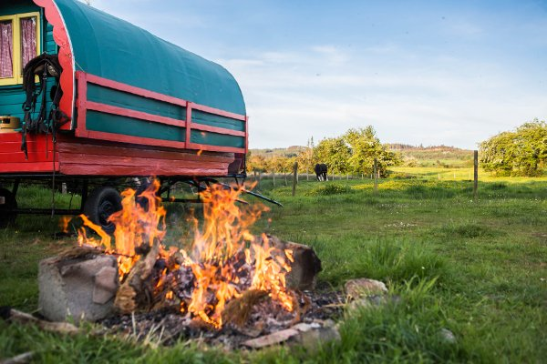 Lighting a bonfire while on your glamping holiday in Ireland